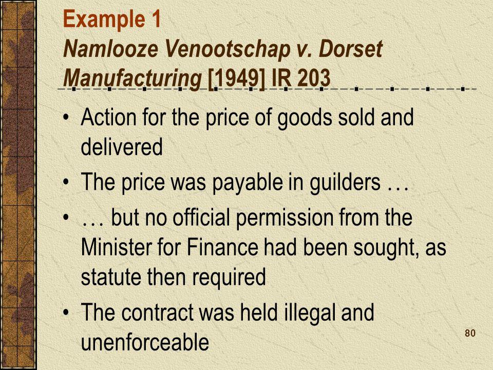 Example 1 Namlooze Venootschap v. Dorset Manufacturing [1949] IR 203